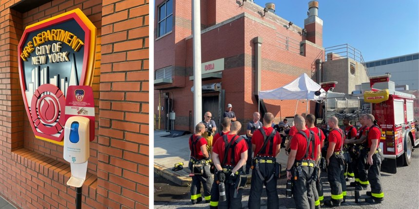 Left: A sunscreen dispenser at the FDNY Fire Academy is the vehicle used to market the message. Right:New recruits and instructors alike are exposed to the sun during training at the academy, but they are provided sunscreen to protect themselves.