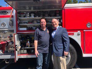 Jesse Quinalty rides with Dave Emanuel, fire chief of the Durham (New Hampshire) Fire Department.