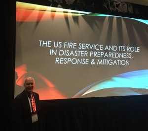 "One of my networking opportunities occurred during my Saturday morning presentation entitled ""The U.S. Fire Service Role in Disaster Preparedness, Response and Mitigation."" (Photo/Allen Lewis)"