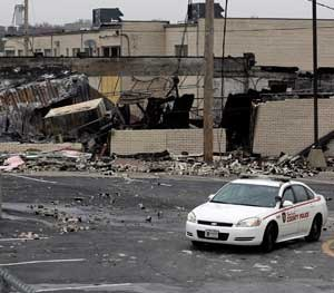 On West Florissant in Ferguson, buildings were burned to the ground when word came down that a grand jury would not indict Darren Wilson.