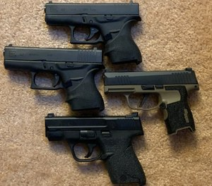 From top clockwise, Glock 42, SIG P365, M&P Shield, Glock 43