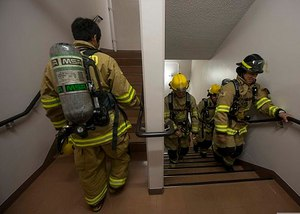 Firefighters running stairs in PPE replicates aerobic capacity requirements of NFPA 1582