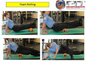 Demonstration of a foam roller for stretching. (Image courtesy Bryan Fass)