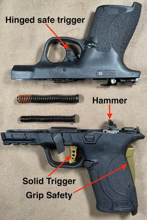 Figure 1: Hammer, smaller spring and solid trigger of the standard Shield (top) and slightly larger EZ.
