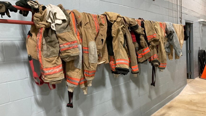 Cleaned gear hangs in the station following a run.