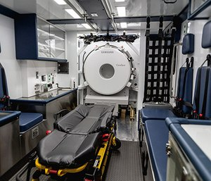 Frazer has developed a mounting and retention system to secure the onboard CT scanner in each of its mobile stroke units. This cage is bolted to the vehicle's chassis and exceeds ambulance safety standards. (Photo/Frazer)