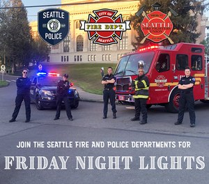 The Seattle Fire Department started Friday Night Lights where fire engines and ladder trucks drive slowly through residential areas with assisted living and long-term care facilities on Fridays from 6:30-7:30 p.m.