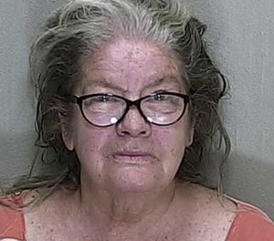 Claudia Jean Cyr, 64, is accused of hitting a firefighter with a sock stuffed with two soup cans. (Photo/Marion County Sheriff's Office)