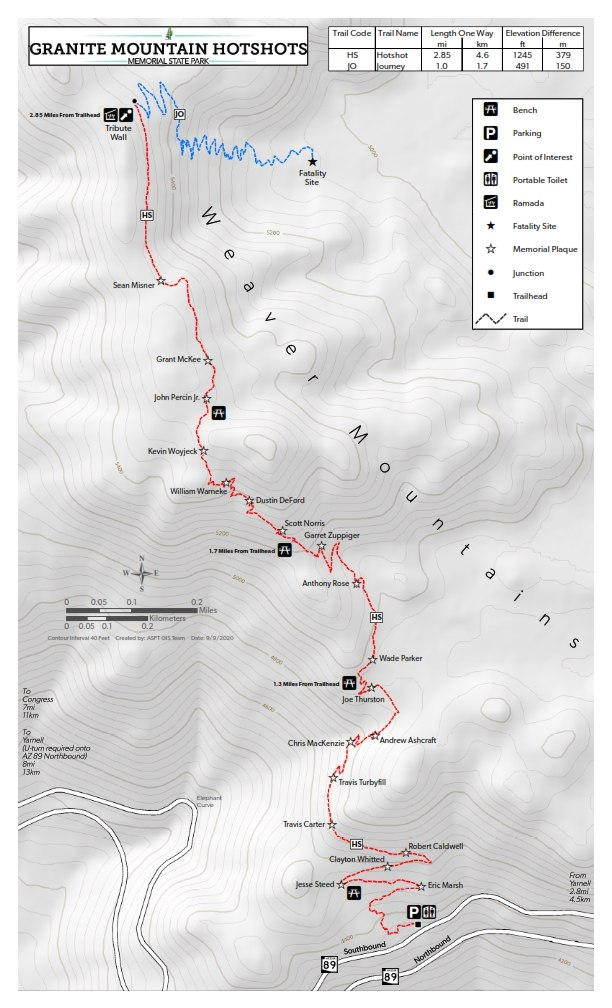 A map of the Granite Mountain Hotshots Memorial State Park trails.