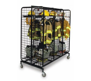 Mobile lockers provide a good tool for keeping soiled turnout gear off of the apparatus floor and other equipment in the station while awaiting its turn in the washer/dryer process.