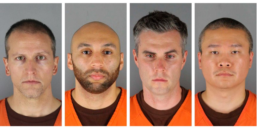 This combination of photos provided by the Hennepin County Sheriff's Office in Minnesota on June 3, 2020, shows from left, former Minneapolis police officers Derek Chauvin, J. Alexander Kueng, Thomas Lane and Tou Thao.