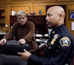 Detroit Police Chief Ralph Godbee (right) and author George Kelling (left), are interviewed in Detroit in 2012.