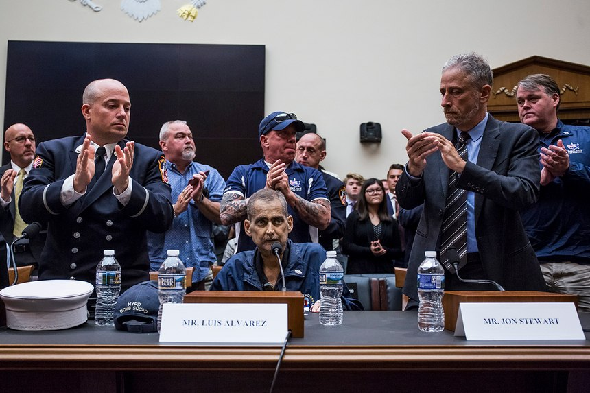 Retired New York City police Detective Luis Alvarez (seated center) spent some of his final days traveling to Washington, D.C., to lobby Congress for permanent 9/11 compensation legislation. Alvarez, who had stage 4 colon cancer, died on June 29, 2019.