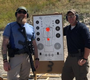 Author Sean Curtis (left) and instructor Rich Donaghe put the Geissele Super Duty LE to the test at the Colorado Law Enforcement Firearms Instructors Association annual conference. (Photo/Sean Curtis)