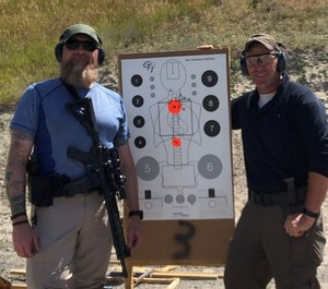 Author Sean Curtis (left) and instructor Rich Donaghe put the Geissele Super Duty LE to the test at the Colorado Law Enforcement Firearms Instructors Association annual conference.