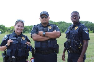 Officers Ramires, Cura and Sims of the Glenn Heights Police Department model their custom load-bearing vests from Blue Stone Safety Products.