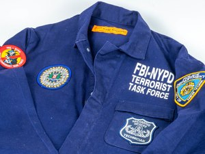 A jumpsuit work by FBI bomb technician Bill Matens during the investigation of the 1993 World Trade Center bombing is on display at the museum.