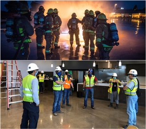 Top: A lieutenant leads cadets during a live-fire propane drill. Bottom But sometimes, chiefs must manage instead of lead, like in the case of new station design. Chiefs become managers when they get to the construction phase of a new station project.