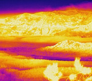 The thermal camera atop the Heavenly Mountain Resort at South Lake Tahoe, California gives firefighters the ability to see through thick smoke that otherwise keeps them from tracking fire progress directly ahead of the fire. The photo shows the view on Saturday, Aug. 28 at 6 a.m.