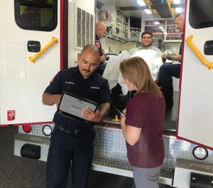 Frontline paramedics identify an individual who they believe could benefit from social work evaluation. The referral is then made through their department's established chain-of-command. (Photo/courtesy Katherine Herrian)