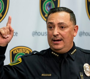 Houston Police Chief Art Acevedo gives an update in the investigation of the officer-involved shooting, that left four HPD officers shot and two suspects dead, during a news conference Thursday, Jan. 31, 2019, in Houston. (Brett Coomer/Houston Chronicle via AP)