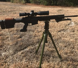 Shadowtech's rifle cradles, along with a solid tripod, provide an LE sniper with a stable platform ranging from a high prone to a solid standing position.