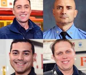 Four FDNY paramedics were nominated for the Daily News Hometown Heroes award for pulling an unconscious man from a basement filled with lethal levels of carbon monoxide. Clockwise from top left: Paramedics Niall O'Shaughnessy, Philip Jugenheimer, Joshua Rodriguez and James Carlson.