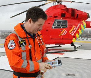 Paramedics are testing a handheld device to detect brain bleeding (Image courtesy London Air Ambulance)
