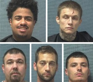 The five inmates who escaped from a Canton correctional facility are pictured here. Top row: Jaden Miller and Michael Fisher; bottom row: Joshua Bingham, Jason Drake and Vincent Blanc. (Photos/Stark County Jail)