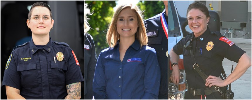 Left to right: Falck Northern California Director and Chief of EMS Carolina Snypes; Riggs (Calif.) Ambulance Service Executive Director Carly Alley; and Falck Alameda County EMS Capt. Julie Beach.