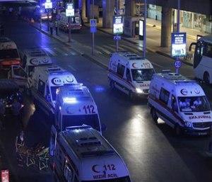 Turkish rescue services gather outside Istanbul's Ataturk airport Tuesday. (AP Photo/Emrah Gurel)