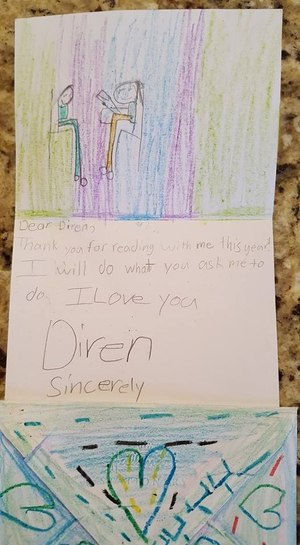 A letter Major Ivey received from one of the children he mentored as part of the Lead to Read program.