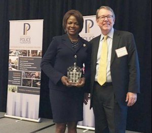 Congresswoman Val Demings pictured with National Police Foundation President Chief (Ret.) Jim Bueermann. (Photo/National Police Foundation)