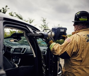 Jaws of Life have the ability to remove a car roof in about two minutes