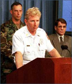 Schwartz, shown here in a press briefing following the attack, led the unified command effort for the Pentagon incident.