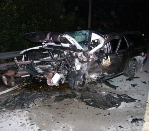Ranger John Costello's patrol vehicle was hit by a driver who was traveling 110 mph on the wrong side of the road.