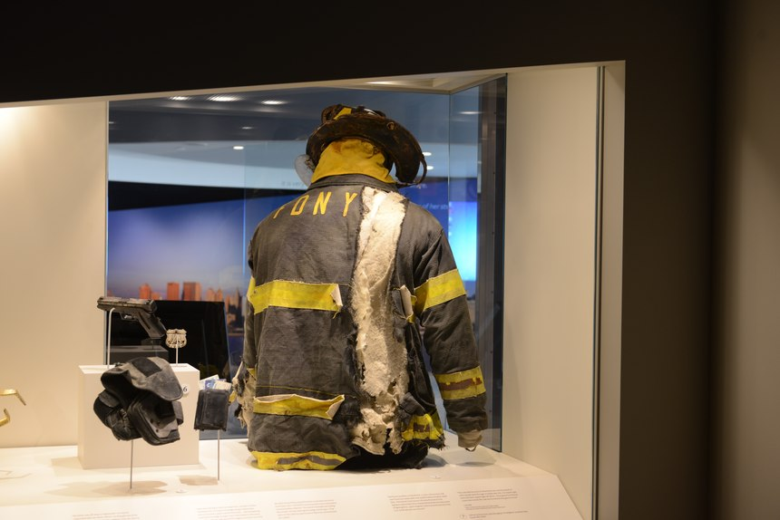 Jonathan Ielpi's turnout gear on display at the 9/11 Tribute Museum.