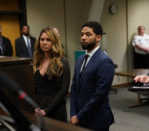 Jussie Smollett appears at a hearing for judge assignment with his attorney Tina Glandian, left, at Leighton Criminal Court, Thursday, March 14, 2019.