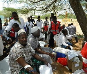 Local residents donate blood at Garissa hospital, Thursday, April 2, 2015. Al-Shabab gunmen attacked Garissa University College in northeast Kenya early Thursday, targeting Christians and killing at least 15 people and wounding 60 others, witnesses said. (AP Photo)