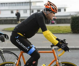 In this March 16, 2015 file picture U.S. Secretary of State John Kerry, rides a bike after a bilateral meeting with the Iranian Foreign Minister in Lausanne, Switzerland. Kerry is in stable condition in a Swiss hospital after suffering a leg injury in a bike crash outside Geneva Switzerland on Sunday, May 31, 2015. (Jean-Christophe Bott,Keystone via AP, file)