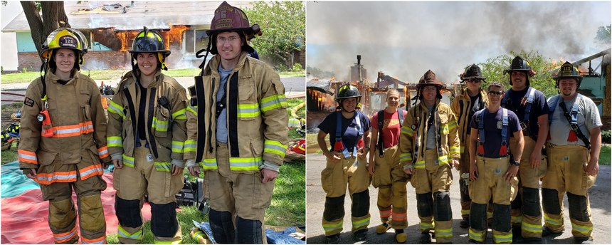 Left: Full-time college students who volunteer with two local departments attend a joint training burn; Right: Students who took EMT classes attend a joint training burn.Photos/Kyle Kuehmichel