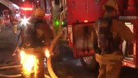 Video: LAFD firefighter nearly engulfed in flames at commercial structure fire