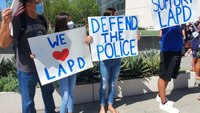 LAPD supporters rally outside headquarters