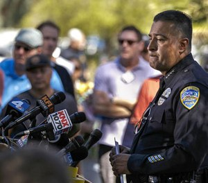Police Chief Bryan Reyes holds a news conference in front of the police station in Palm Springs. (Photo/Los Angeles Times)
