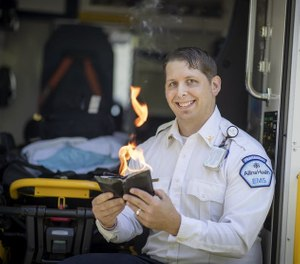 EMT/paramedic Ivan Mazurkiewicz uses magic tricks in the back of his ambulance to soothe his youngest patients. (Photo/Tribune News Service)