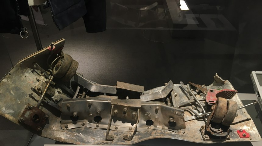 Among the 20+ artifacts on display are airplane fragments from Flight 93, a steel beam from the World Trade Center, a limestone block from the damaged section of the Pentagonand part of the damaged food cart from Flight 93.