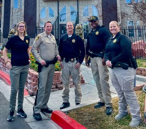 Left to right: Crime Prevention Specialist Cynthia Raichel, Captain Reggie Rader, COP Sergeant Matthew Arnold, COP Officer Okechukwu Meke and COP Officer Kara Mahon worked to educate the owner, management and residents about how to boost security on the property.