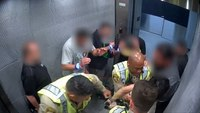 Video: Man shoots Las Vegas officer with officer's holstered gun