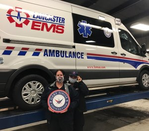 Lancaster EMS in Pennsylvania received 12 tires for their ambulances from Cooper Tires and the Gary Sinise Foundation, which have partnered for the second year in a row to donates tires to first responders in observance of Public Service Recognition Week. The organizations have donated 62 tires to eight public safety departments so far. (Photo/Lancaster EMS)