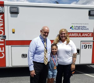 She gave herself a bit of advice she learned from watching rescue videos on YouTube with her brother and sister: Stay calm. (Photo/Cetronia Ambulance Corps)